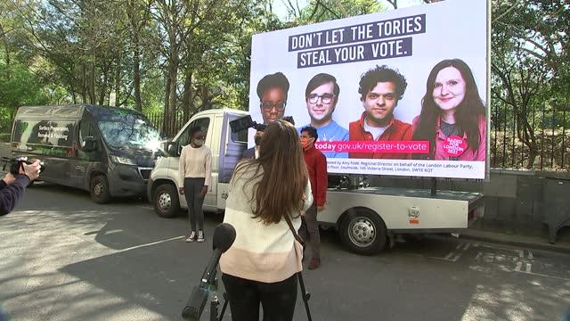 london mayoral election: shaun bailey manifesto launch / sadiq khan billboard photocall and interview; england: london: ext general views of... - politics stock-videos und b-roll-filmmaterial
