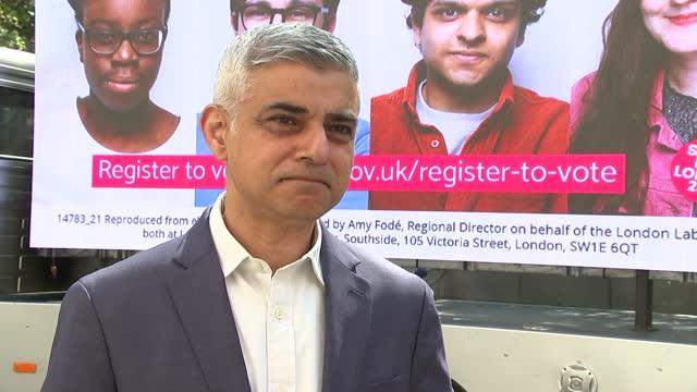 london mayoral election: shaun bailey manifesto launch / sadiq khan billboard photocall and interview; england: london: ext sadiq khan interview sot... - politics stock-videos und b-roll-filmmaterial