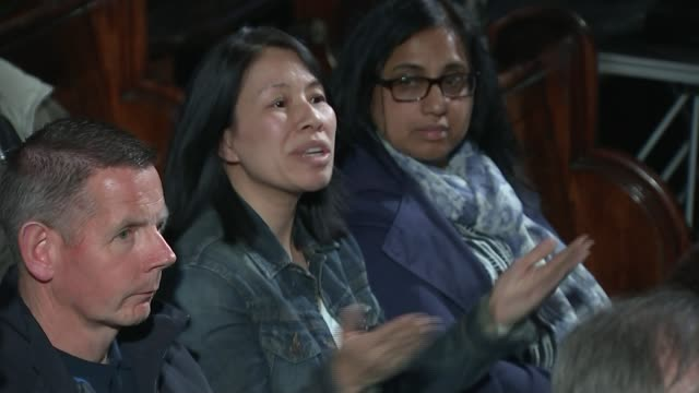 three previously undecided voters give their opinions islington union chapel int zac goldsmith mp speaking during debate sot people are being priced... - イズリントン点の映像素材/bロール