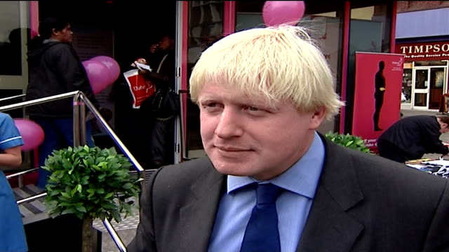 london mayoral elections: boris johnson at diabetes uk roadshow; johnson interview sot - [asked how he assesses his chances of being selected as the... - mayor stock videos & royalty-free footage