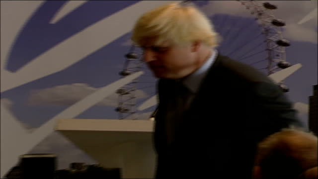 boris johnson chosen as tory candidate int johnson finishing speech and leaving podium as audience applauds and cameron steps up sot johnson nodding... - mayor stock videos & royalty-free footage