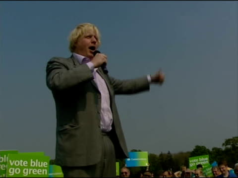 london mayoral elections: boris johnson may stand; 6.7.2007 swindon: boris johnson speaking at conservative rally sot - pleased to be in swindon, one... - mayor stock videos & royalty-free footage