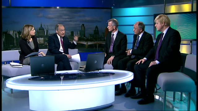 london mayoral elections: live studio debate with ken livingstone, boris johnson and brian paddick; england: london: gir: int ken livingstone live... - mayor stock videos & royalty-free footage
