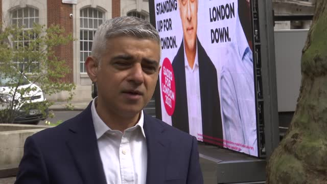 london mayoral elections: sadiq khan billboard launch and interview; england: london: smith square: ext sadiq khan interview sot - re coronavirus and... - politics video stock e b–roll