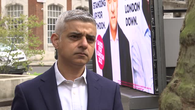 london mayoral elections: sadiq khan billboard launch and interview; england: london: smith square: ext sadiq khan interview sot - re 2021 london... - politics video stock e b–roll