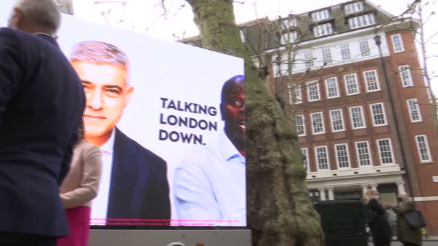 london mayoral elections: sadiq khan billboard launch and interview; england: london: smith square: ext various of sadiq khan standing chatting to... - politics video stock e b–roll