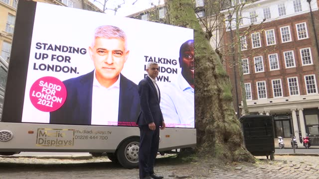 london mayoral elections: sadiq khan billboard launch and interview; england: london: smith square: ext sadiq khan arrival and chatting to campaign... - politics video stock e b–roll