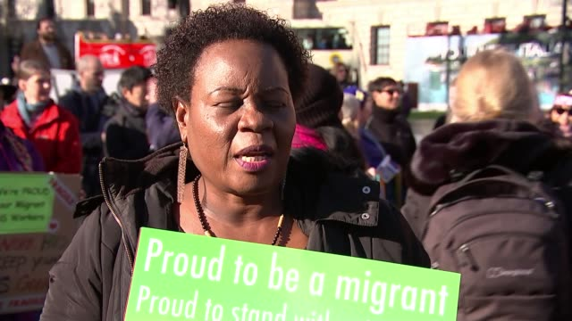 london migrants protest against rising hate crime since brexit vote england london westminster parliament square ext various shots gladys mapanda and... - sprechgesang stock-videos und b-roll-filmmaterial
