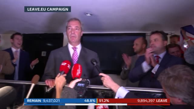 london: millbank: int nigel farage mep along at leave.eu campaign party to make speech sot - ladies and gentlemen, dare to dream that the dawn is... - referendum stock videos & royalty-free footage