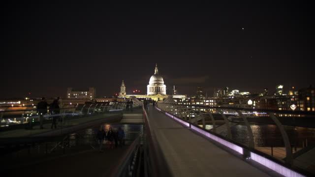 london millennium bridge and st. paul's cathedral - london millennium footbridge stock videos and b-roll footage