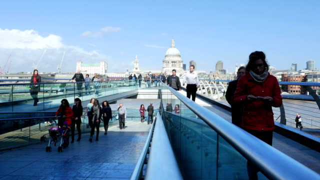 london millennium bridge and st paul's cathedral (4k/uhd to hd) - london millennium footbridge stock videos and b-roll footage