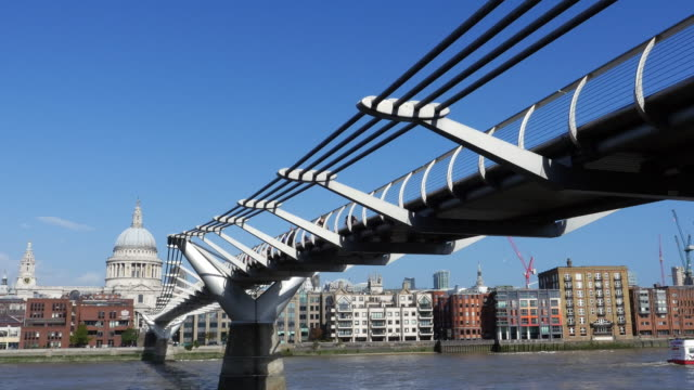 London Millennium Bridge And The City Riverbank