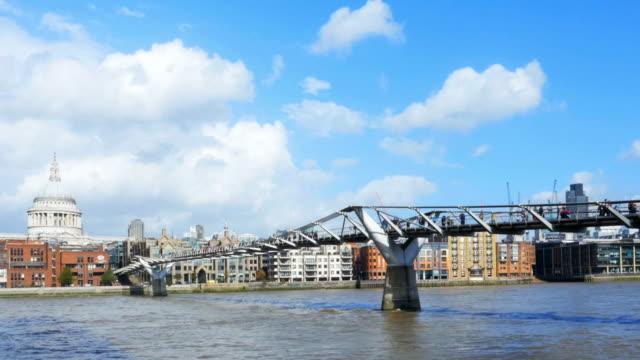 london millennium bridge cinemagraph - london millennium footbridge stock videos and b-roll footage