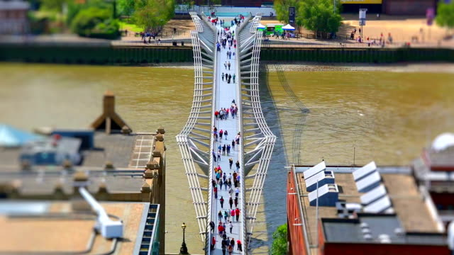 london millennium bridge, time lapse + tilt shift - tilt stock videos and b-roll footage