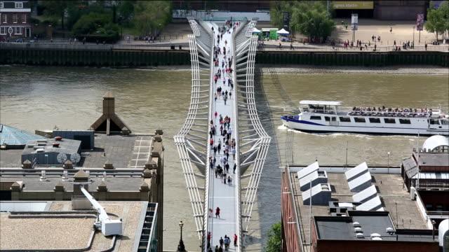 london millennium bridge - london millennium footbridge stock videos and b-roll footage