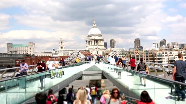 london millennium bridge with people - london millennium footbridge stock videos and b-roll footage