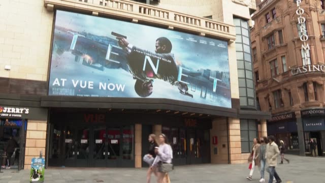 london movie theatres release christopher nolan's new film, tenet, hoping it will entice audiences back to the cinema after months of closure due to... - film industry stock videos & royalty-free footage