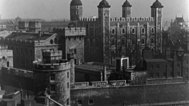 dx - london - m.s. tower of london - tower bridge not shown - b&w. (nit. neg) - tower of london stock videos & royalty-free footage