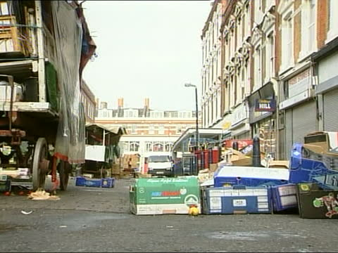 brixton nail bomb:; england: london: brixton: ext gvs wreckage at bomb scene tx 18.4.99/13.00 - itv news at one stock videos & royalty-free footage
