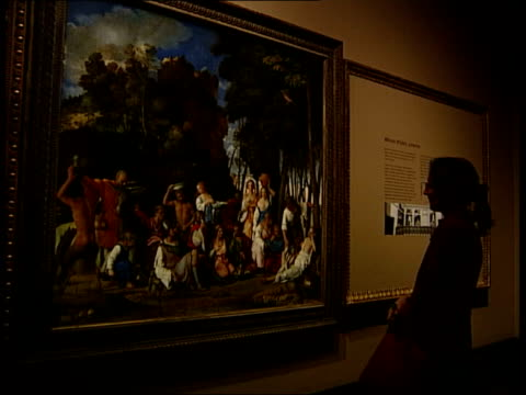london national gallery int css detail of titian painting cbv man looking at painting refocus to painting behind selfportrait of titian on wall as... - raphaël haroche stock videos & royalty-free footage