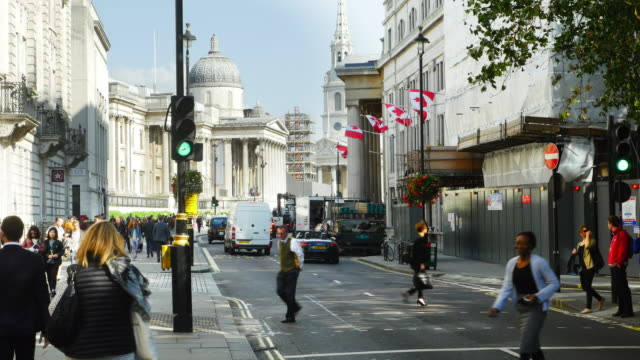 london national gallery viewed from pall mall east (uhd) - east london stock videos and b-roll footage
