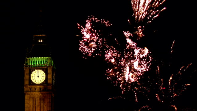 London New Year's Fireworks behind Big Ben
