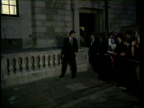 london: night norman lamont coming out of treasury with officials to speak to press sot - today has been difficult and turbulent/ speculation has... - 1990 1999 stock videos & royalty-free footage