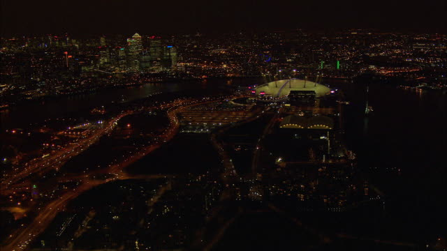 london night-time aerial o2 arena and approach roads - dome stock videos & royalty-free footage