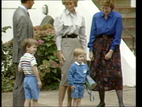London North Kensington MS Prince Princess of Wales standing with sons Prince Harry Prince William as outside kindergarten CMS Prince Harry standing...