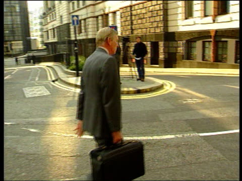 london: old bailey: ext julian bevan qc towards past from court as leaving gv prison van carrying kenneth noye along as leaving court cf = b0549880... - kenneth noye stock videos & royalty-free footage