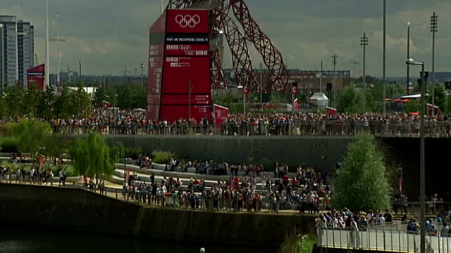london olympic aquatics centre due to reopen to the public june/august 2012 crowds of people along in olympic park during 2012 london olympic games... - 2012 stock videos and b-roll footage