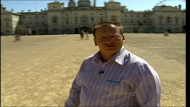 london olympic bid 2012: interview with p.y. gerbeau; itn england: london: ext gv horseguards parade to py gerbeau talking sot - here we are at... - sportlerin stock-videos und b-roll-filmmaterial