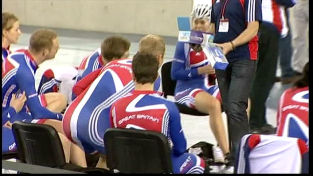 london olympic games 2012 preparations: velodrome opens; hoy along and taking seat with other members of team gb cycling team various of british... - hoy stock videos & royalty-free footage
