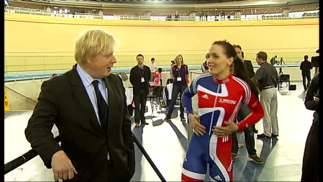 london olympic games 2012 preparations: velodrome opens; int boris johnson interview about the velodrome and its rhubarb coating sot close shot of... - hoy stock videos & royalty-free footage