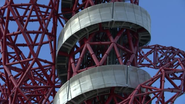 london olympic park makes annual financial loss england london stratford olympic park ext general views of arcelormittal orbit tower helter skelter... - orbiting stock videos & royalty-free footage