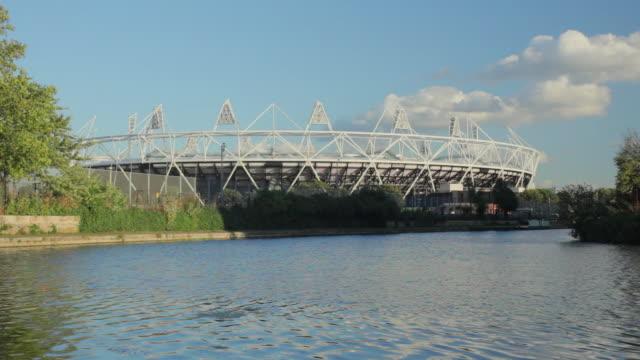 WS TU London Olympic stadium and River Lea in Stratford East London / London, UK