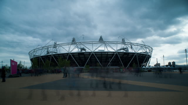 T/L WS London Olympic Stadium exterior day with people
