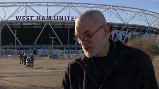 London Olympic Stadium taken over by London Mayor Sadiq Khan Andrew Boff interview SOT West Ham logo on turnstiles sign 'West Ham United' sign over...