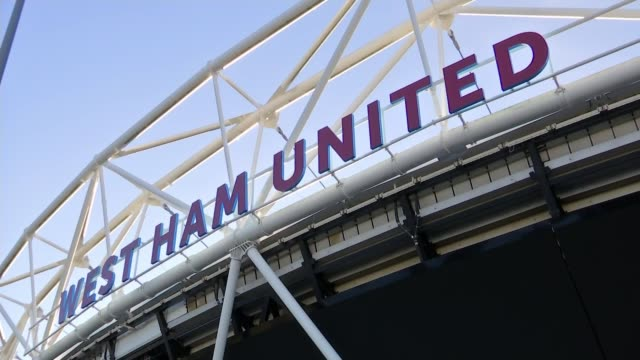 London Olympic Stadium taken over by London Mayor Sadiq Khan DAY West Ham sign on stadium with ArcelorMittal tower in background 'West Ham United'...