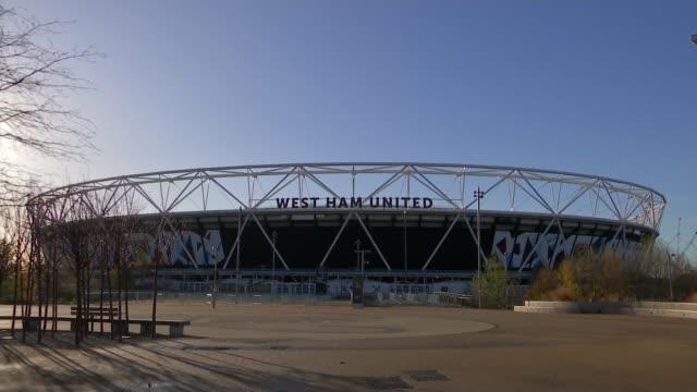 London Olympic Stadium taken over by London Mayor Sadiq Khan London Olympic Stadium with 'West Ham United' sign above