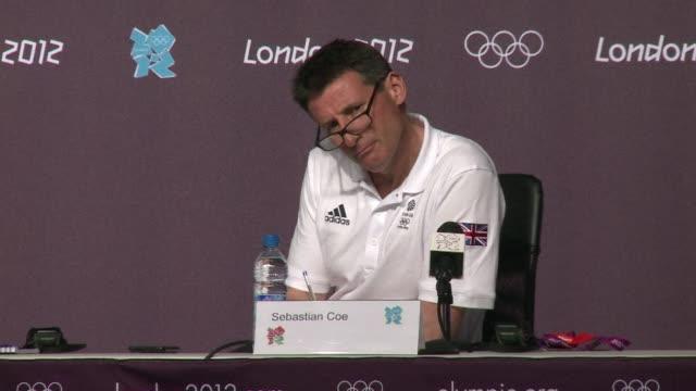 vídeos de stock, filmes e b-roll de london olympics chief organiser sebastian coe said saturday's british gold medal rush in rowing, cycling and the three-medal haul in athletics made... - sebastian coe