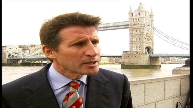 london olympics organisers defend their sponsorship deal with mcdonald's; tower bridge: ext lord sebastian coe interview sot - mcdonald's is not the... - all shirts stock-videos und b-roll-filmmaterial