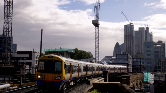 london overground train passing through shoreditch - railway track stock videos & royalty-free footage