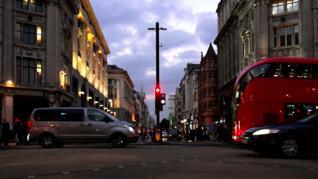 london oxford circus and oxford street at night - bus stock videos & royalty-free footage