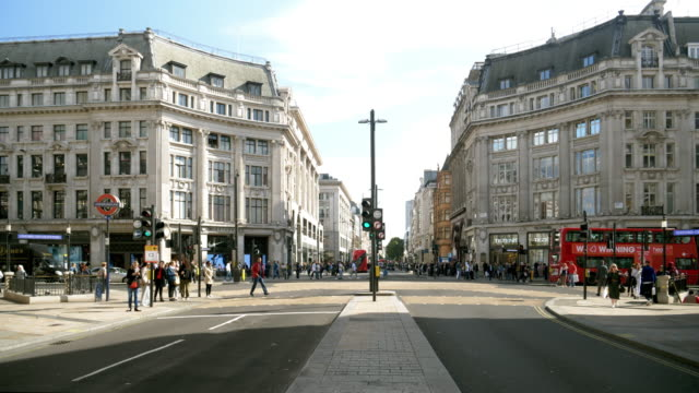 london oxford circus and oxford street - road signal stock videos & royalty-free footage