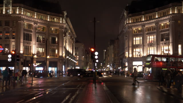 london oxford circus at rainy night - london england stock videos & royalty-free footage
