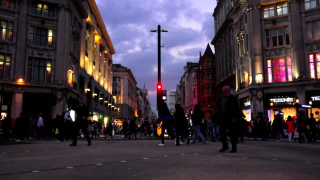 london oxford circus at the blue hour - oxford street london stock videos and b-roll footage