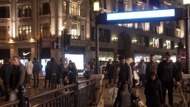 london oxford circus underground station at night - oxford circus stock videos and b-roll footage
