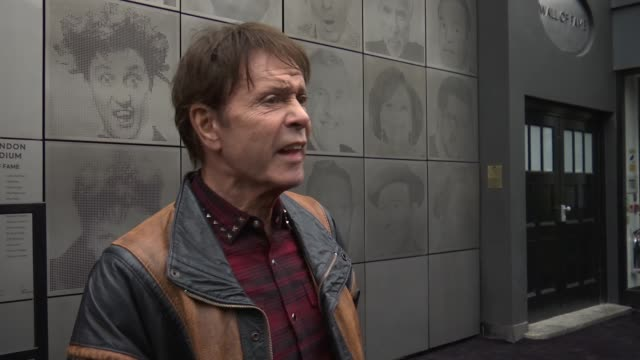 london palladium 'wall of fame' stage door unveiled; england: london: palladium theatre: ext cliff richard interview sot / - cliff richard stock videos & royalty-free footage