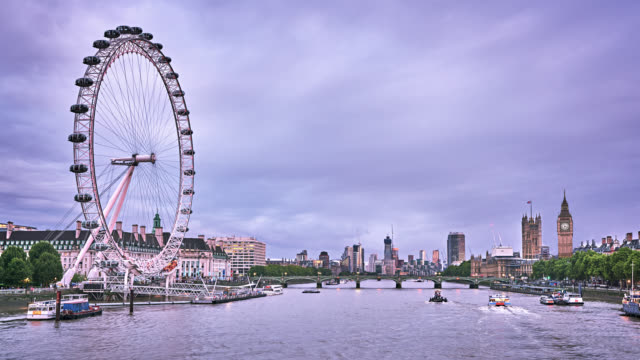 london panorama. thames river. houses of parliament. big ben - big wheel stock videos & royalty-free footage